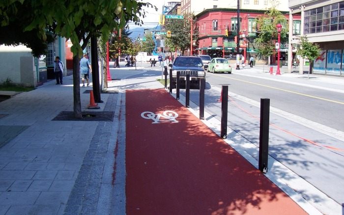 Separated Cycle Path in Vancouver