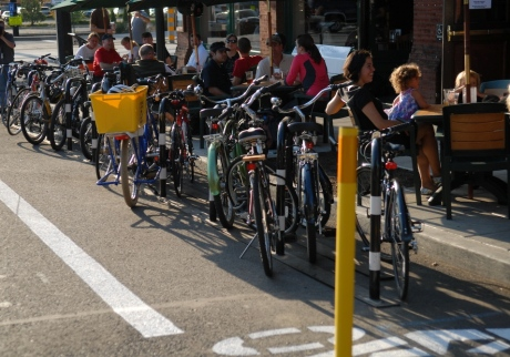 "A ""Bike Corral"" from Portland - a much more efficient form of customer parking"