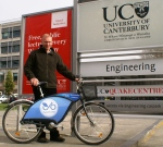 John Parkin and his borrowed NextBike outside Canterbury University