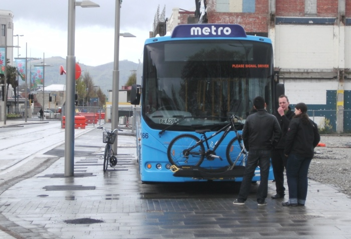 Throughout the day, many people took the opportunity to try out the bus bike racks