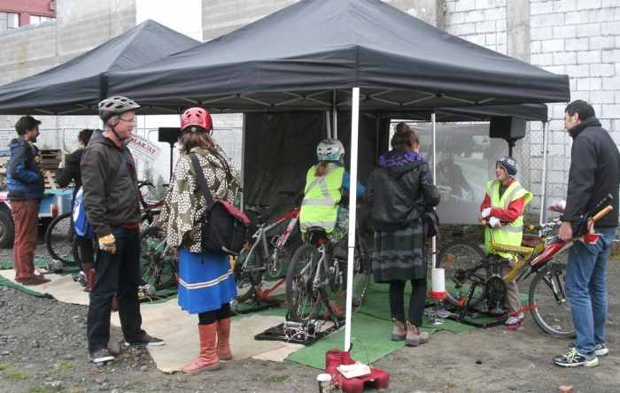 Catching a movie, courtesy of the cycle-powered cinema