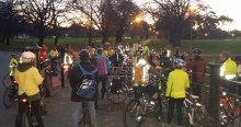 As the sun sets, lots of people turned out for the ride.