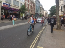 Cycling along Oxford St