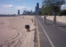 The Chicago Lakefront Pathway is a great facility for tourists and commuters alike