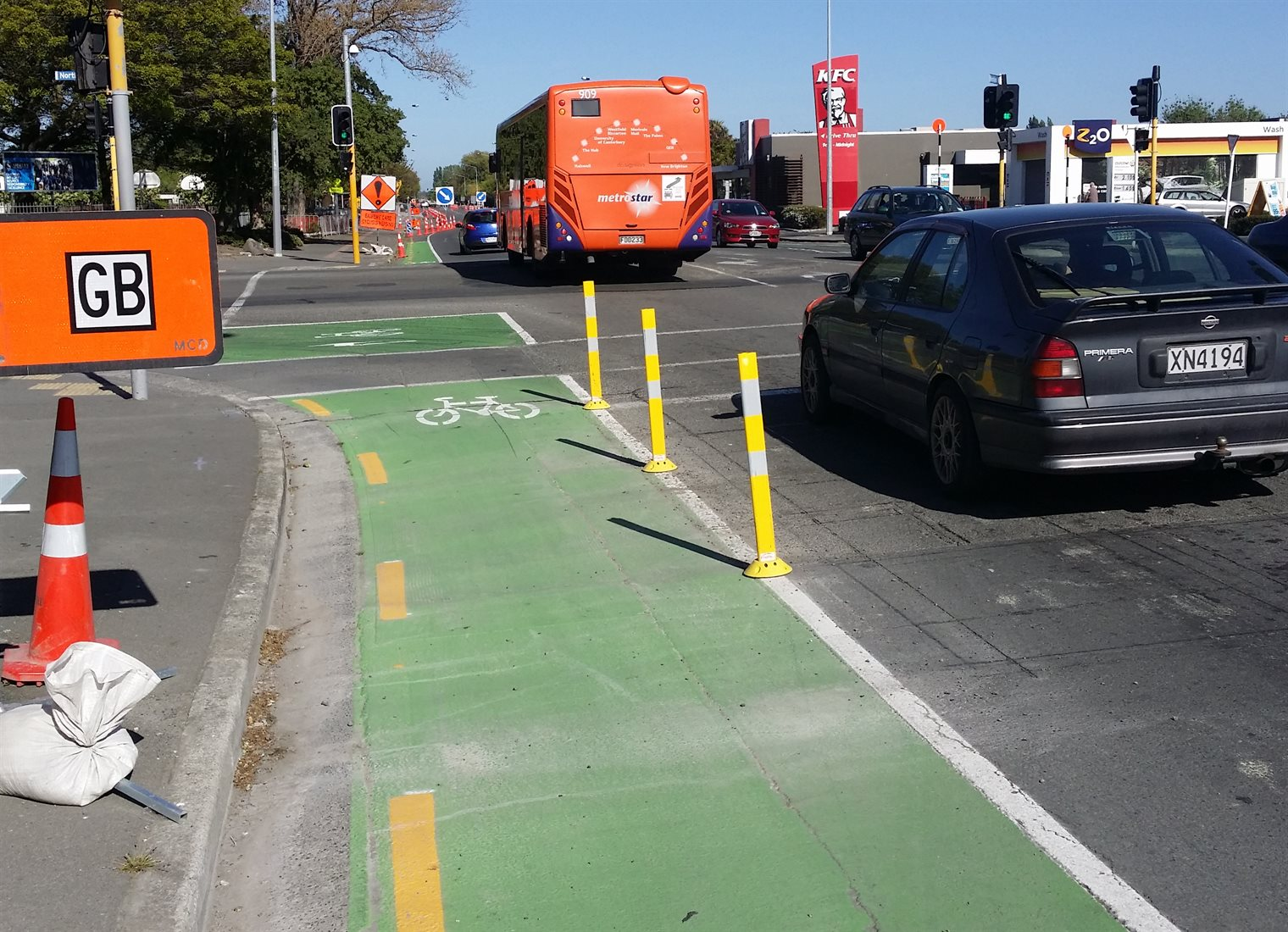 More cycle lane separators popping up