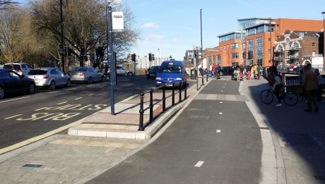 A new bit of separated cycleway, with a separate island for bus stop patrons