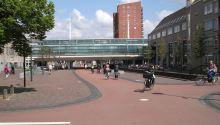 The Houten train station runs above the main walk/bike path through town