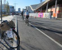 "New ""Copenhagen lane"" cycleways on Colombo St (c/ Connie Kruse Christensen)"