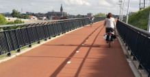 """Crossing the Waal river on the """"snelbinder"""" near Nijmegen"""